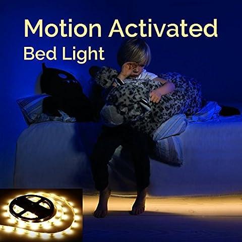 Sous la lumière de lit, Bande LED Sensor de Mouvement éclairage, LED Strip Détecteur De Mouvement, Flexible 1.5m, éclairage multifonction nocturne avec capteur PIR, temps d'éclairage réglable et arrêt automatique, idéal pour le chevet, la chambre à coucher, sous la crèche, placard, armoire, plateau