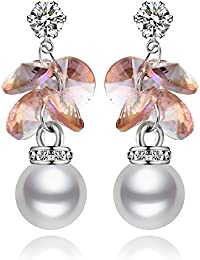 "Young & Forever Valentine Gifts Special Allure ""Lustrous Pearls"" Austrian Crystals Drop Earrings For Girls And..."