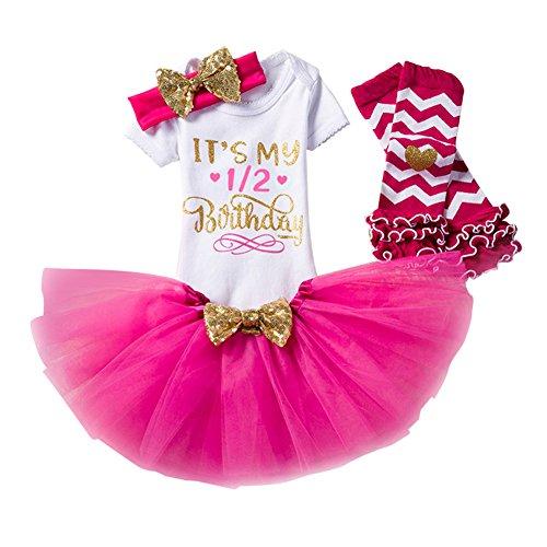Baby Mädchen Kleid 1/2 Geburtstag Blusen Kleid Set 4 Stück Romper + Rock Tütü + Stirnband + Socken Rosa rot/0-6Monate (Verschönert Mädchen-socken)