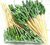 Palillos de cóctel palillos de madera de 100 cuentas Comidas para fiestas frutas Sandwich mordiscos - Cactus Verde