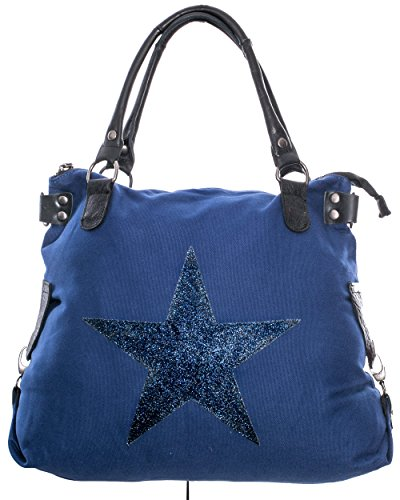 Damen Handtasche mit Stern aus Canvas stern glitzer Henkel Leder TCSGVL 0168 royalblau Picture