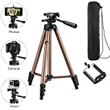 Syvo WT 3130 Aluminum Tripod (50-Inch), Universal Lightweight Tripod with Mobile Phone Holder Mount & Carry Bag for All Smart Phones, Gopro, Cameras (Color May Vary)