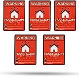 Pegatinas-Alerta alarmgesichertes Casa-5Unidades En Calidad Premium 70mm x 50mm-außenklebend para ventanas, puertas y buzón-Protección cont