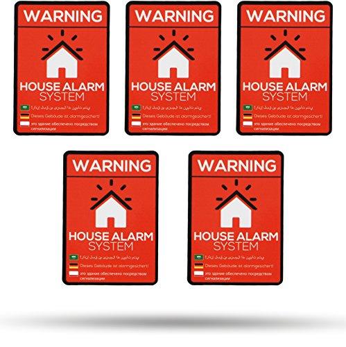 Aufkleber - Warnung alarmgesichertes Haus - 5 Stück in Premium Qualität 70mm x 50mm - außenklebend für Fenster, Haustür und Briefkasten - Schutz vor Einbruch