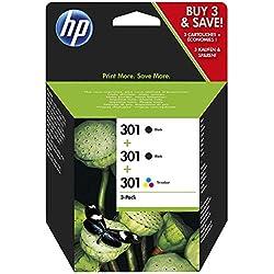 HP 301 Pack de 3 Cartouches d'Encre Noir, Cyan, Magenta, Jaune (E5Y87EE)