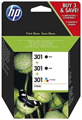HP 301 Multipack Original Druckerpatronen (2x Schwarz, 1x Farbe) für HP Deskjet, HP ENVY, HP Photosmart -