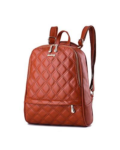 CHENGYANG Damen Freizeit PU Leder Rucksack Mode Handtaschen Vintage Schultasche Orange