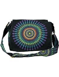 Guru-Shop Schultertasche, Hippie Tasche, Goa Tasche - Braun, Herren/Damen, Baumwolle, 23x28x12 cm, Alternative Umhängetasche, Handtasche aus Stoff