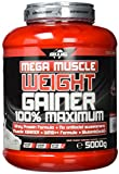 BWG Mega Muscle Weight Gainer 100% Maximum - perfekt für HardGainer und Massephasen – Kraftaufbau - Mega Strawberry - Dose mit Dosierlöffel - (1x 5000g Dose)