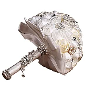 VORCOOL A Mano Cristallo Di Diamante Perla Strass Spilla Nuziale Contenere Fiori Spilla Bouquet Di Nozze