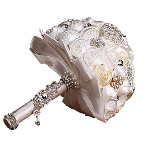 VORCOOL A Mano Cristallo Di Diamante Perla Strass Spilla Nuziale Contenere Fiori Spilla Bouquet Di