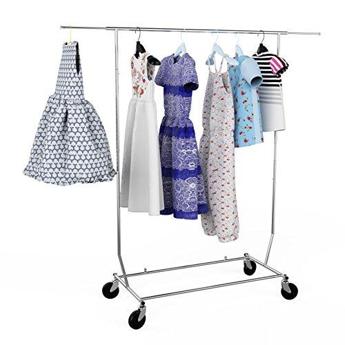 Homdox Kleiderständer Garderoberegal Kleiderstange Rollgarderobe mit Rollen Längeverstellbar rollbarer Ordnungssystem Stahl Silber