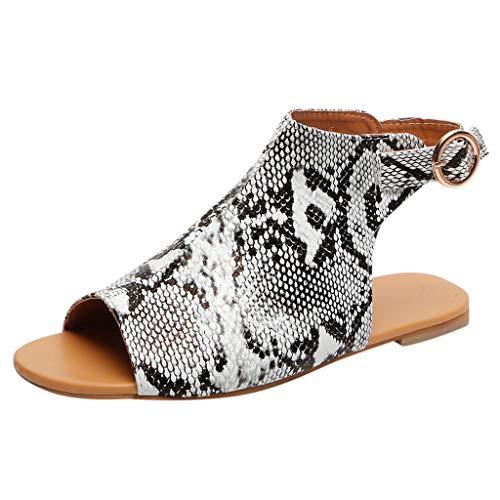 Strungten Womens Sommer Slip On Mule Slingback Peep Toe Flache Sandale verstellbare Knöchel Schnalle Schuhe Roman Flache Schlange Casual Sandalen 5-zoll-clear-mule