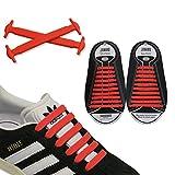 JANIRO Elastische Silikon Schnürsenkel – flexibler Schuhbänder Ersatz ohne Binden - Kinder & Erwachsene - 20 Stück - Rot