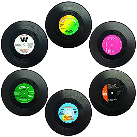 Set of 6 Coasters, SENHAI Retro Vinyl Record Mats Placemats for Cold Hot Drinks, Anti-Skid Tabletop Protection Prevents Slipping -