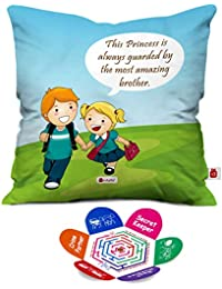 Indigifts Princess Guarded Bro Quote Printed Square Micro Satin Multi Cushion Cover with Filler - (Multicolour and White, 12x12-inch)