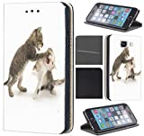 Samsung Galaxy Xcover 3 Hülle von CoverHeld Premium Flipcover Schutzhülle Xcover 3 aus Kunstleder Flip Case Motiv (469 Baby Katze 2 Katzen)