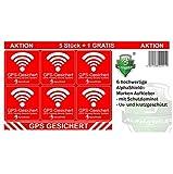 6 Stück GPS Aufkleber Innen-oder Außenklebend Fahrrad Motorrad Baumaschinen Auto LKW Alarm Warnung Anti Diebstahl Sticker Tracker gesichert (Außenklebend)