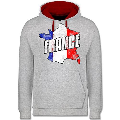 Fußball-WM 2018 - Russland - France Umriss Vintage - Kontrast Hoodie Grau Meliert/Rot