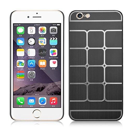 JAMMYLIZARD | Dreiteilige Aluminium Schutzhülle für [ iPhone 6 & 6s 4.7 Zoll ], GOLD Quadratenmuster - SCHWARZ