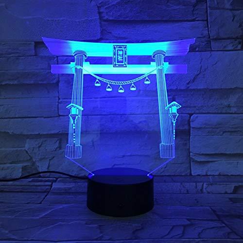 Nachtlicht Berühmte Gebäude Japan Japanischer Schrein Usb 3D Led Nachtlicht Multicolor Rgb Festival Geschenk Dekorative Lichter Schreibtischlampe Schlafzimmer