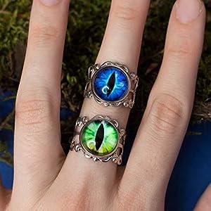 Blauer grüner Drache-Augenring, justierbarer silberner Farbgrundring mit blauem grünem Reptilgeschöpfdrachenauge…