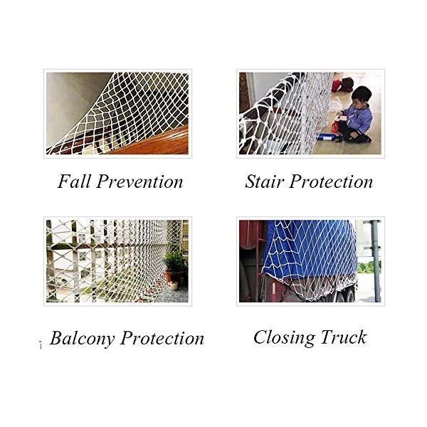 """Protective Netting,Balcony Safety Baby Banister Child Stair Stairs Dog Rail Pet Mesh Net Railing Guard Block for Gate Kids Lacrosse Softball Archery Netted Golf Ball Goal Backstop Net Netting Nets  ★Material of the kids protective netting: pure polyester. ★Mesh size*rope diameter: 8cm*6mm(3""""*15/64) , 8cm*8mm(3""""*5/16).Length*width: please make purchase according to your actual needs.We have any other size (rope diameter, mesh, length * width) rope net, support customization.If you have any questions or needs, please contact us. ★Multi-use protection net:family balcony and railing balcony stairs safety net banister stair anti-cat climbing, anti-high fall and other intensive protection; wall ,home, theme party hotel, guesthouse, cafe, bookshop, restaurant, decoration,hanging ect. 5"""