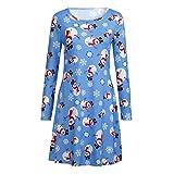 Mutter und Baby Kleid Weihnachten Kostüm Familien Outfit Damen Mädchen Langarm Xmas Santa Print T-Shirt Kleid A-Line Minikleid von Innerternet