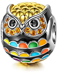 NINAQUEEN Women Bead Charms Wise as Owls 925 Sterling Silver Gold Plated for Animal Lovers, Multicolor Enamel Bead, Christmas Gifts, Come with a Gift Packaging, Nickel-free, Passed SGS