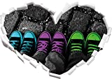 Stil.Zeit Türkis, pink, neon grüne Chucks Black and White, Black Background schwarz/weiß Herzform im 3D-Look, Wand- oder Türaufkleber Format: 92x64.5cm, Wandsticker, Wandtattoo, Wanddekoratio