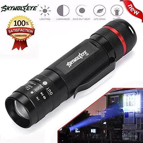 10principales tactique à LED Lampe de poche, 3000Lumens 5modes mise au point réglable Zoomable Bright Handheld lampe de camping