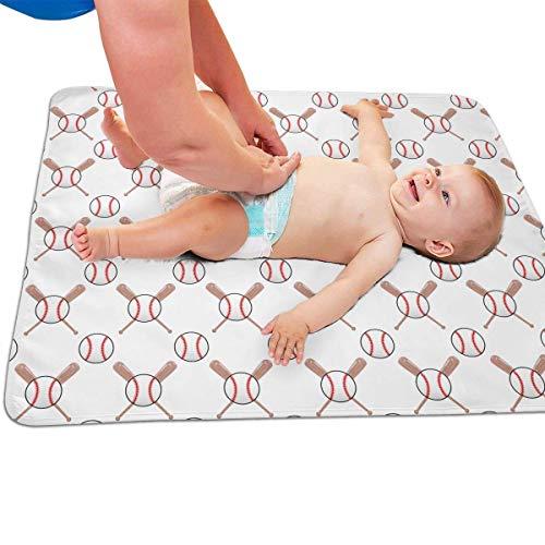 "Zcfhike Baby Portable Diaper Changing Pad Baseball and Bat Urinary Pad Baby Changing Mat 31.5"" x25.5''"