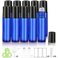 Botellas Roll On para Aceites Esenciales, 10ml (Azul Cobalto, Vacías, 10 Piezas