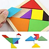 Calistouk Rainbow color legno Tangram DIY Wood puzzle Kid giocattolo educativo
