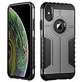 JETech Coque Compatible avec iPhone XS et iPhone X, Double Protection avec Shock-Absorption, Gris