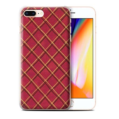Stuff4 Hülle / Case für Apple iPhone 8 Plus / Blau/lila Muster / Kreuz Muster Kollektion Rot