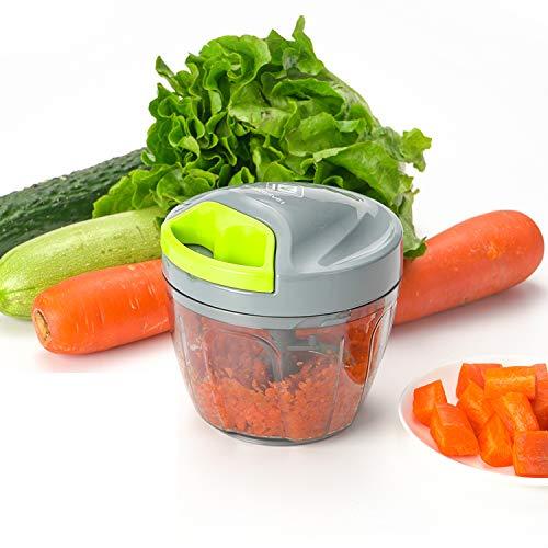 Kalokelvin Zwiebel Zerkleinerer, Zwiebelschneider Gemüseschneider Manuell Küche Küchenmaschine mit 3 Klingen für Babynahrung, Obst und Gemüse, Fleisch (650ml) (Shorts Cut Boy)