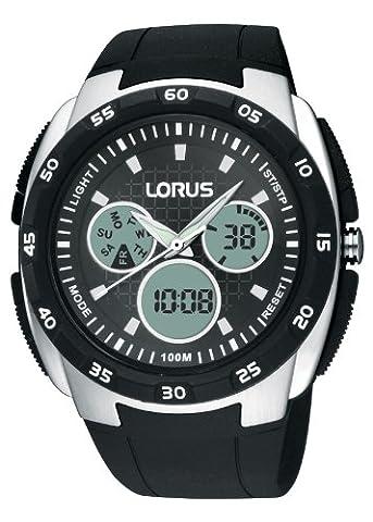 Lorus - R2341DX9 - Montre Homme - Quartz Analogique - Digital - Alarme/Chronomètre/Eclairage/Aiguilles - Bracelet Caoutchouc Noir