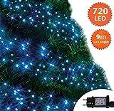 Weihnachtsbeleuchtung 720 LED 9m Blau und Helle weiß Alternative Außen Cluster Baumbeleuchtung String Innenlichterkette Memory Timer Netzbetrieben Beleuchtet Länge 10m Dachrinne Grünes Kabel