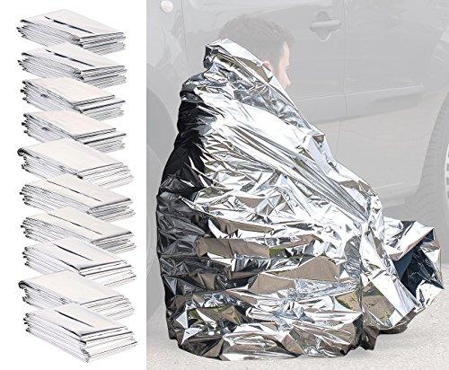 Semptec Urban Survival Technology Rettungsfolie: 10er-Set isolierende Rettungsdecken, extraleichtes Mini-Packmaß, 200cm (Rettungsdecke faltbar)