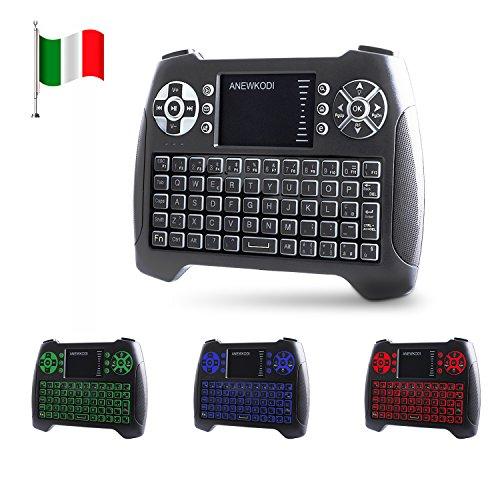ANEWKODI T16 Tastiera Wireless Mini Tastiera Retroilluminata con Mouse Touchpad, 2.4GHz Mini Keyboard Wireless Telecomando Tastiere per PC, Android TV Box, Smart TV, HTPC, XBOX360 (Design Italiano)