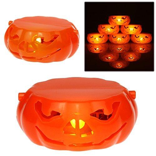 Amos sin llama Led calabaza té luz vela funciona con pilas Halloween redondo naranja jack O calabaza portavelas Scary Spooky decoración