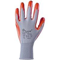 Stenso Twister® - 12 pares de guantes de punto - Sin costuras - Revestimiento de nitrilo - Puños elásticos - Gris/naranja