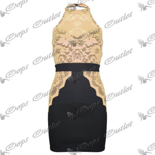 Pure Fashion Damen Minikleid körperbetont Mehrfarbig Yellow - New Stretch Strechy Skirt Tops