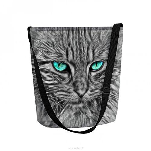 Arso Filztasche Funky Cat-B Handtasche mit Motiv-Druck und Doppel-Innentasche Reißverschluss Filz Katze getiegert