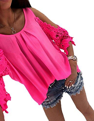 Jc.Kube Damen Sommer Spitze Schulterfrei Chiffon Hemd Bluse - Chiffon-hemd