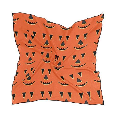 Voxpkrs Womens Halloween Kürbis Gesichter Muster Seide Gefühl quadratischen Schal Satin Halstücher Kopf Haarwickel