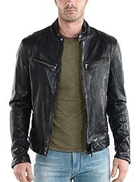 Leather4u Chaqueta de cuero para hombre, piel de vaca, Negro KL745