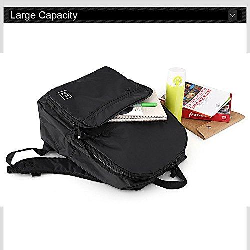 Ranbow Zaino affari pieghevole casual Daypack Zaino di viaggio di scuola della 25L, nero Nero