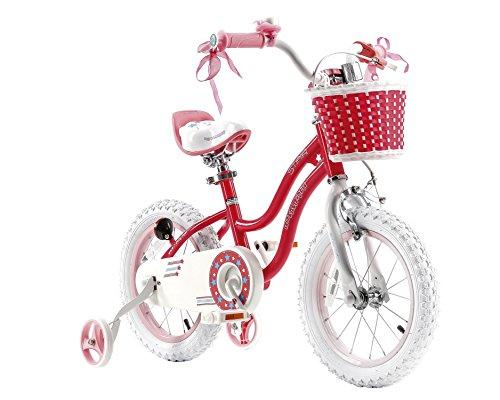 RoyalBaby Star Girl, bici da bambino per bambine, da 3-6 anni, 12-14-16 pollici, con ruote di allenamento e supporto per il parco
